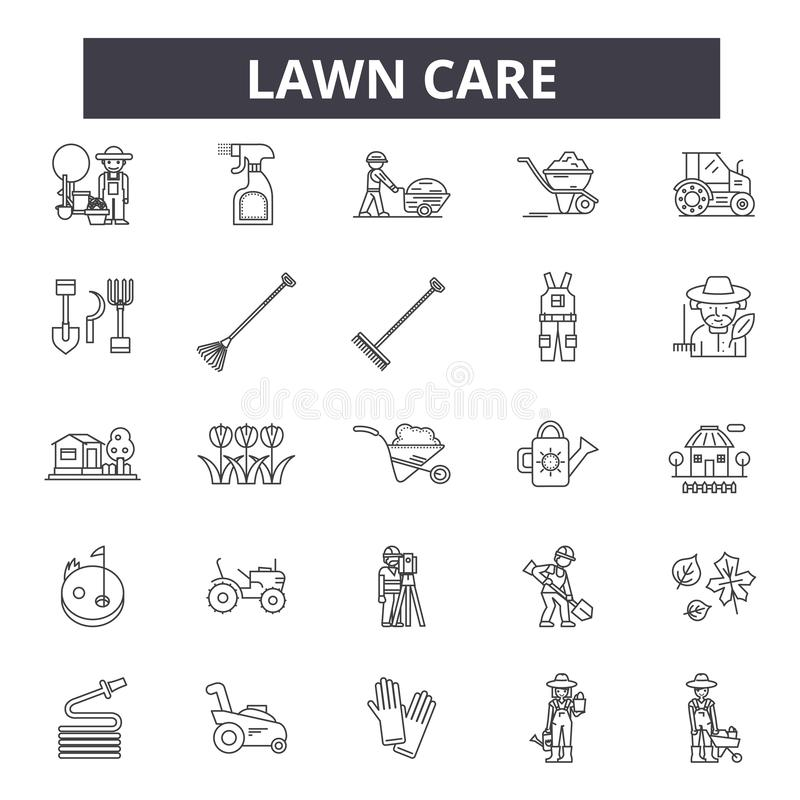 Lawn care line icons, signs, vector set, outline illustration concept vector illustration