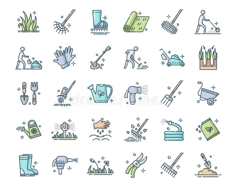 Lawn Care Vector. Lawn care and aeration - filled outline color icon set, lawn grass service, gardening and landscape equipment, isolated simple sings with tools vector illustration