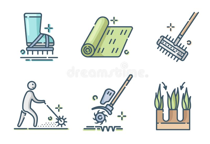 Lawn Care Vector. Lawn care and aeration - filled outline color icon set, lawn grass service, gardening and landscape equipment, isolated simple sings with tools royalty free illustration