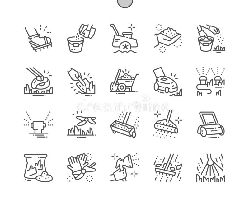 Lawn care Well-crafted Pixel Perfect Vector Thin Line Icons 30 2x Grid for Web Graphics and Apps. royalty free illustration