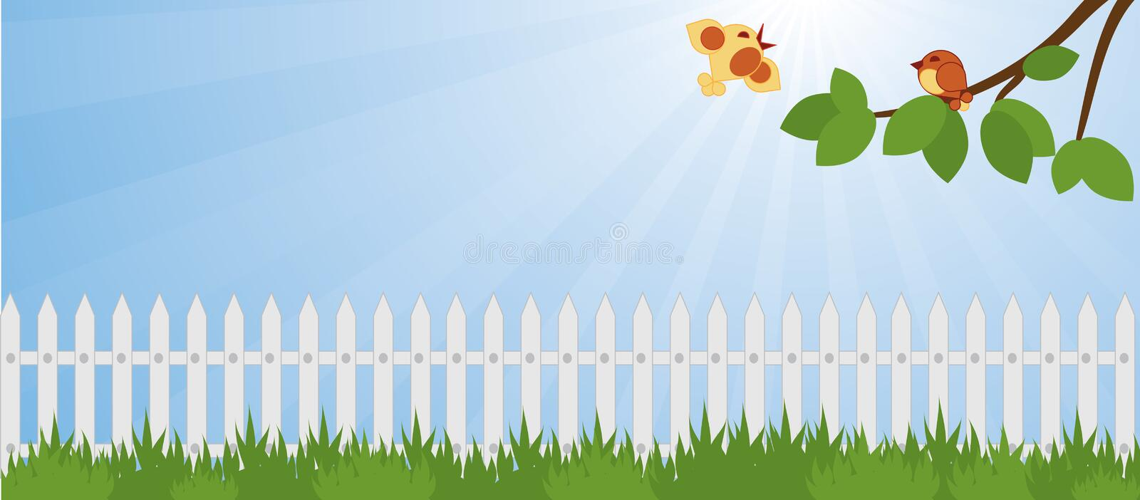Lawn in the garden. And white picket fence royalty free illustration