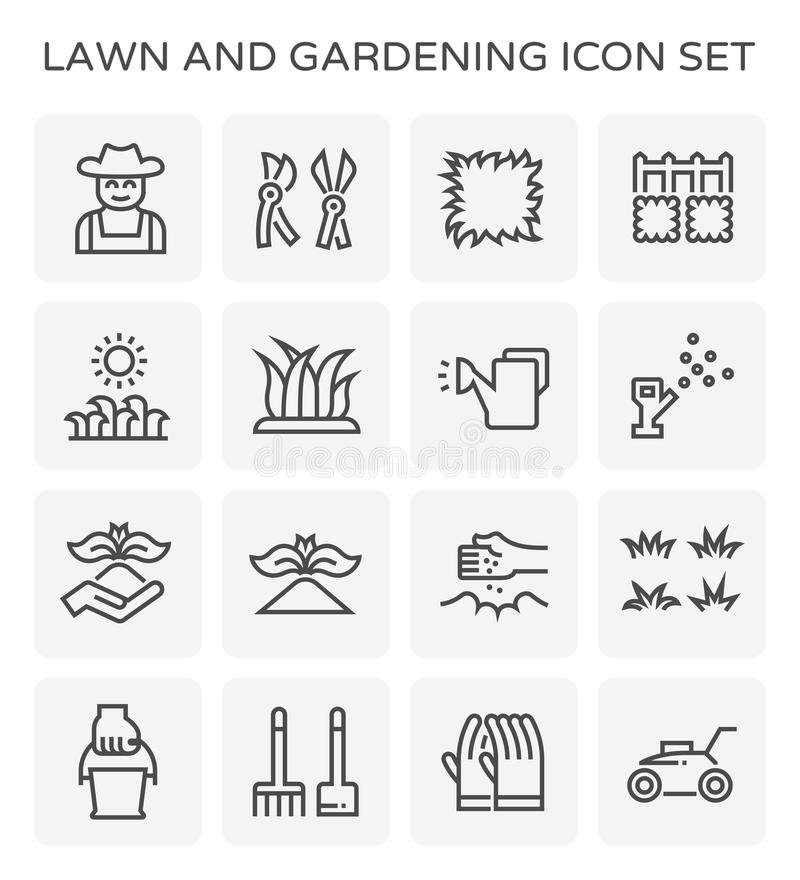 Lawn gardening icon. Lawn and gardening vector ico set vector illustration