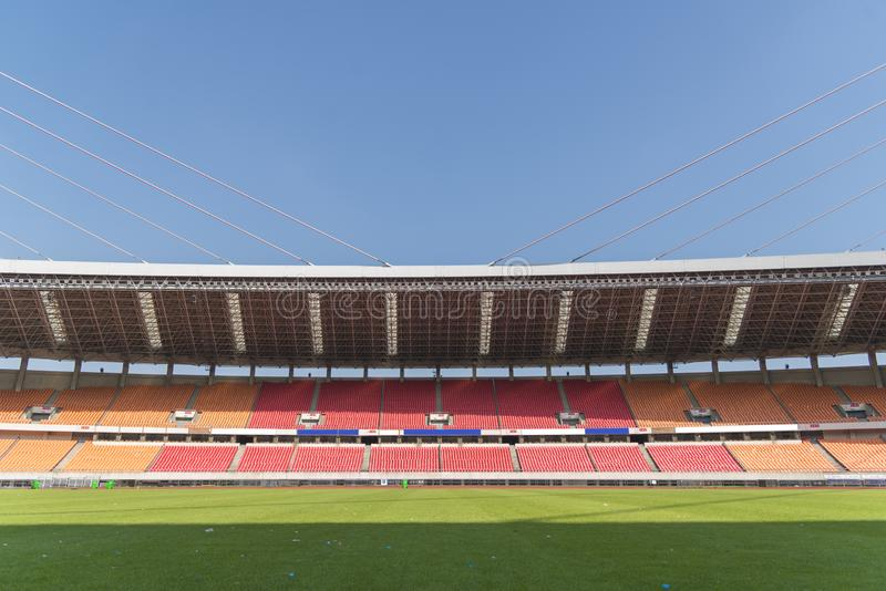 Lawn and grandstand. Empty football stadium stock images