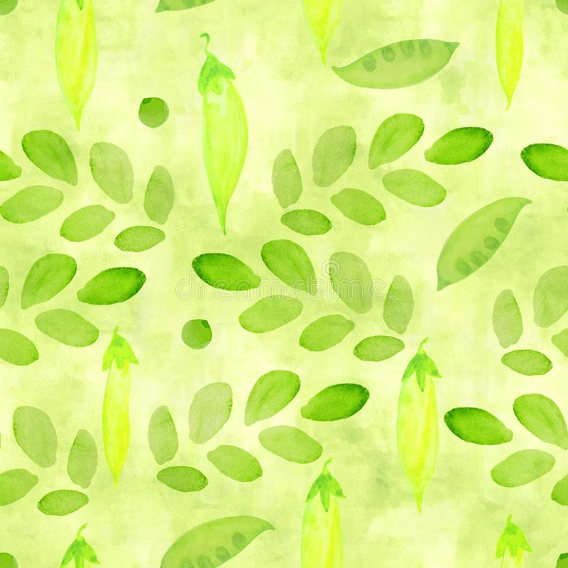 A lawn green, lime color seamless pattern with watercolor pea sprouts and branches with leaves for scrapbooking. Hand painted. Chartreuse repeat print, brush stock illustration