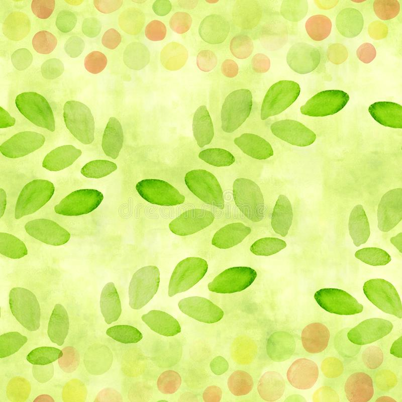 A lawn green, lime color seamless pattern with watercolor sprouts, branches with leaves and spots for scrapbooking. Hand painted. Chartreuse repeat print, brush stock illustration