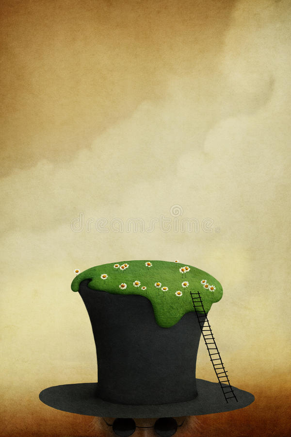 Lawn on hat. Background for poster or illustration with lawn on hat. Computer graphics stock illustration