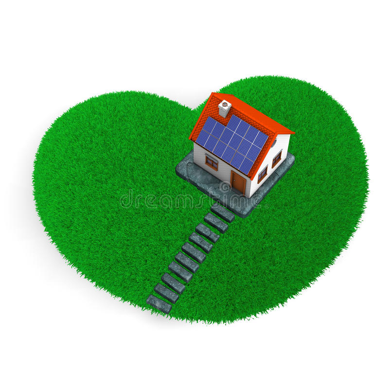 Download Lawn Heart House stock illustration. Image of door, green - 28798081