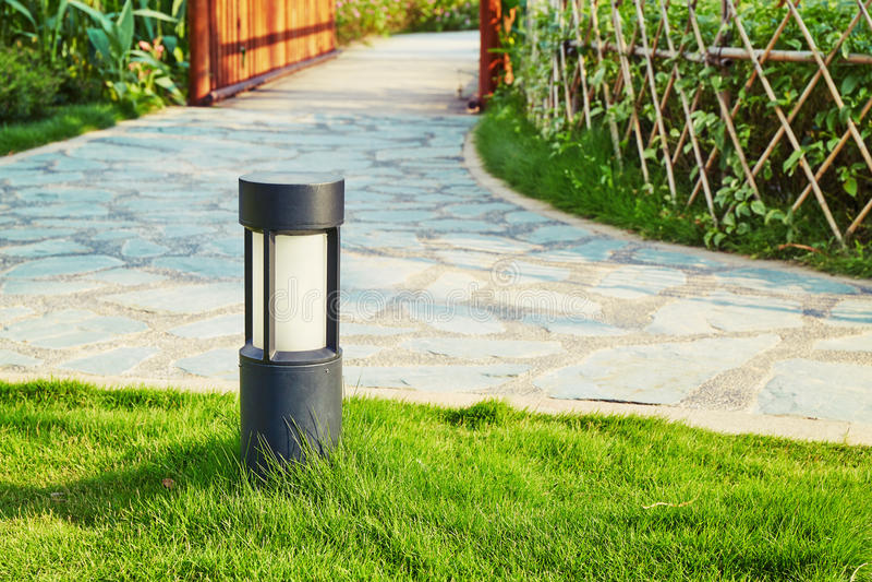 Lawn lamp garden light outdoor landscape lighting. Modern decorative outdoor lawn lamp garden light for landscape lighting stock photo