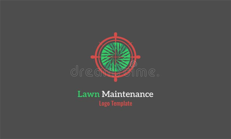 Lawn maintenance logo lawn vanisher. It is lawn maintenance logo template lawn as shoot target royalty free illustration