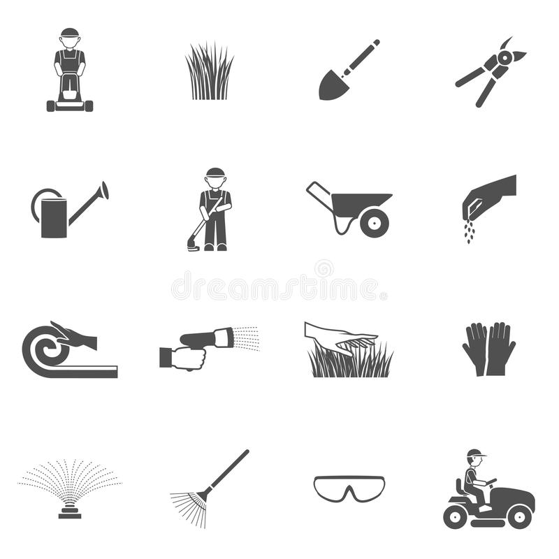 Lawn Man Icon Set. Lawn man farm worker with grass cutting equipment black icon set isolated vector illustration stock illustration