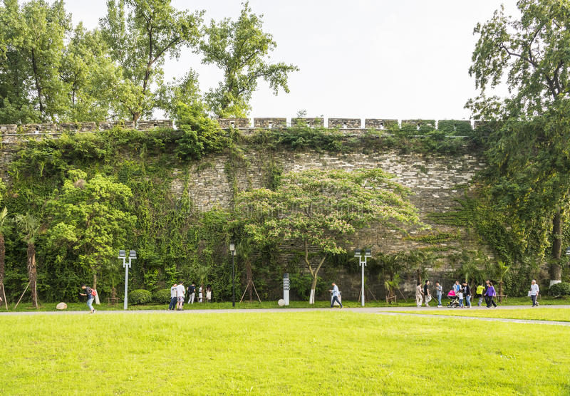 lawn and Ming Dynasty City Wall royalty free stock photos