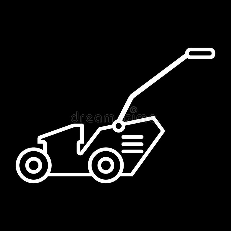 Lawn mover line icon. vector illustration isolated on black. outline style design, designed for web and app. Eps 10. Grass-cutter mover line icon. vector royalty free illustration