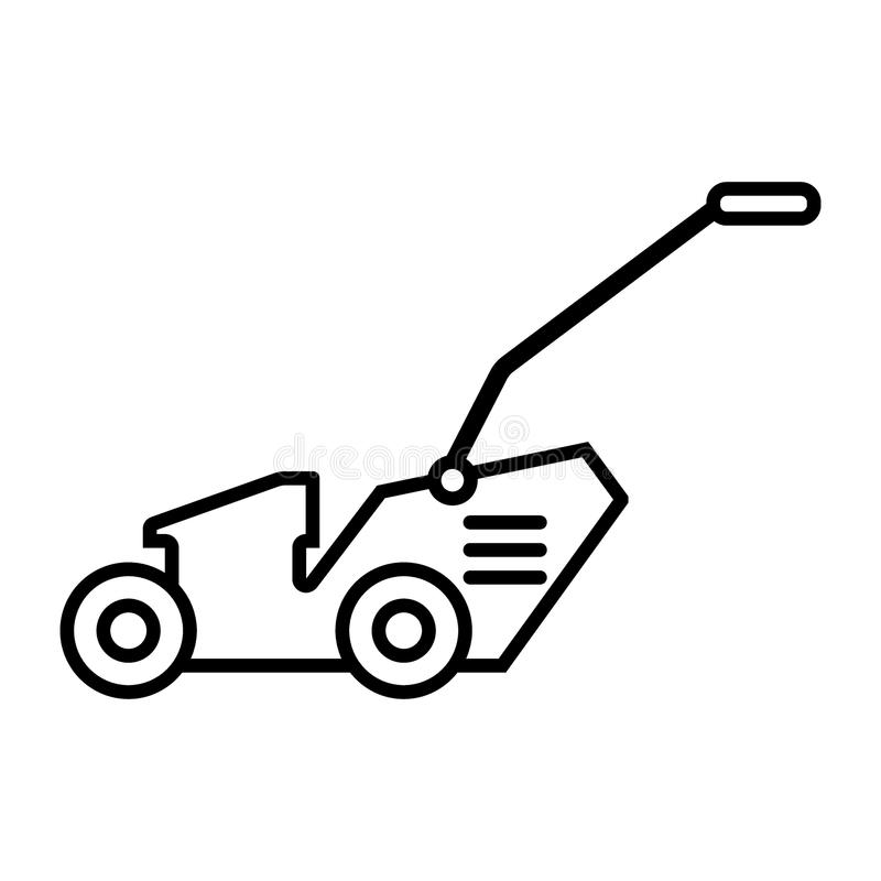Lawn mover line icon. vector illustration isolated on white. outline style design, designed for web and app. Eps 10. Grass-cutter line icon. vector illustration vector illustration
