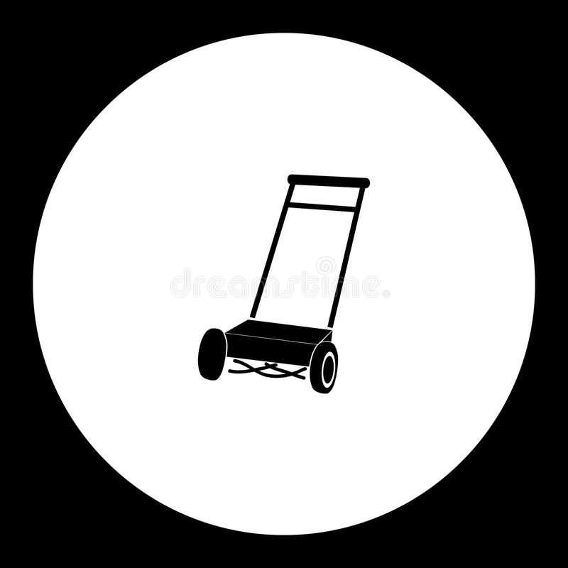 Lawn mover simple silhouette black icon royalty free illustration