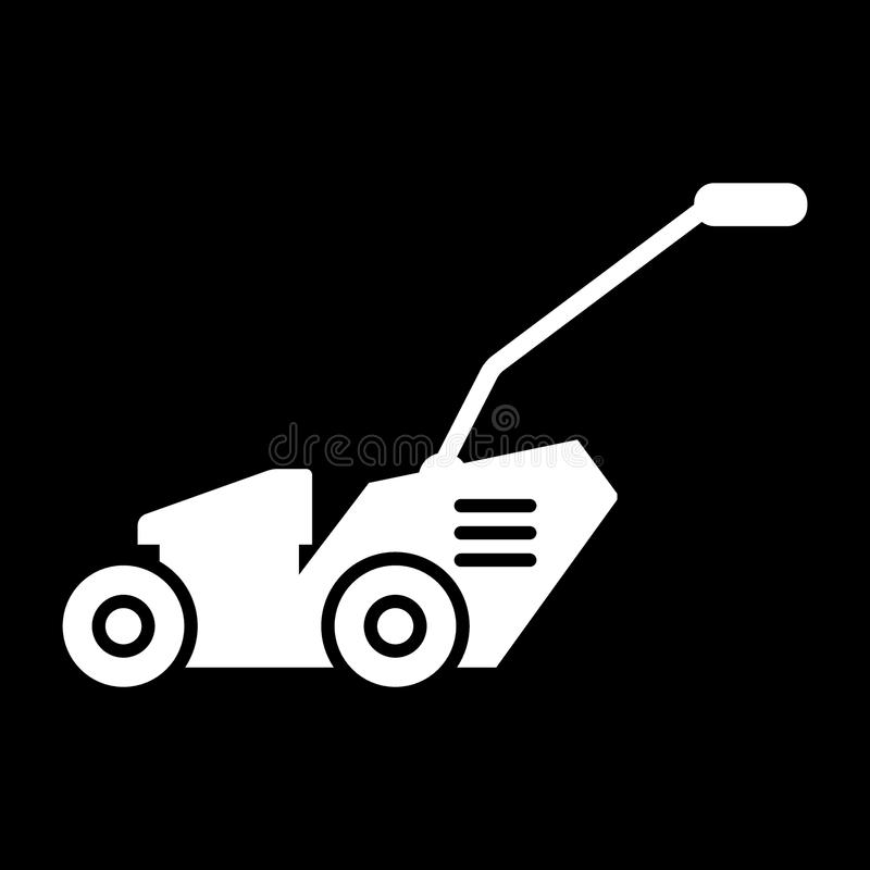 Lawn mover solid icon. vector illustration isolated on black. glyph style design, designed for web and app. Eps 10. Grass-cutter solid icon. vector illustration royalty free illustration