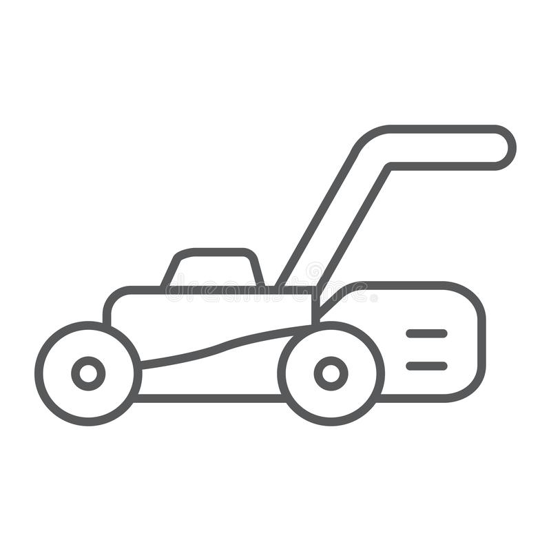 Lawn mover thin line icon, equipment and garden, cutter sign, vector graphics, a linear pattern on a white background. vector illustration