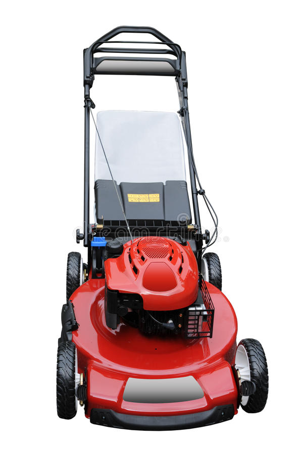 Lawn Mower. Red lawn mower isolated over white background stock image