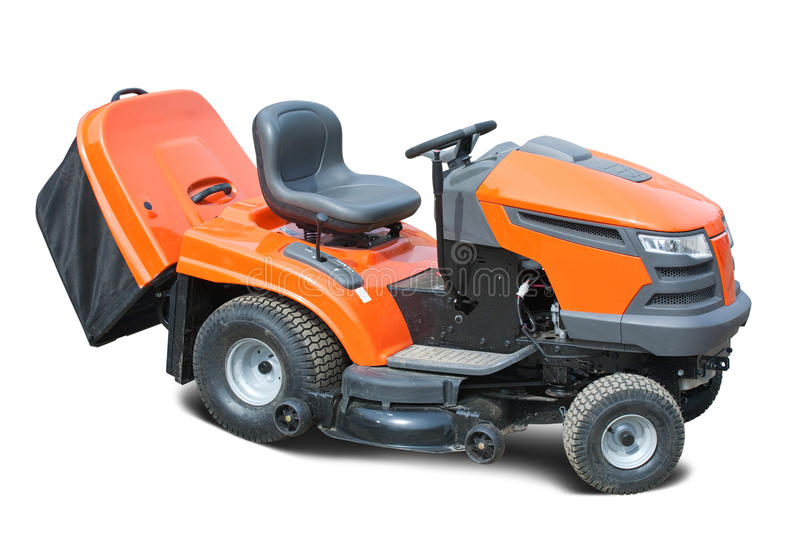 Lawn mower. Orange lawn mower. Isolated with clipping path stock photography