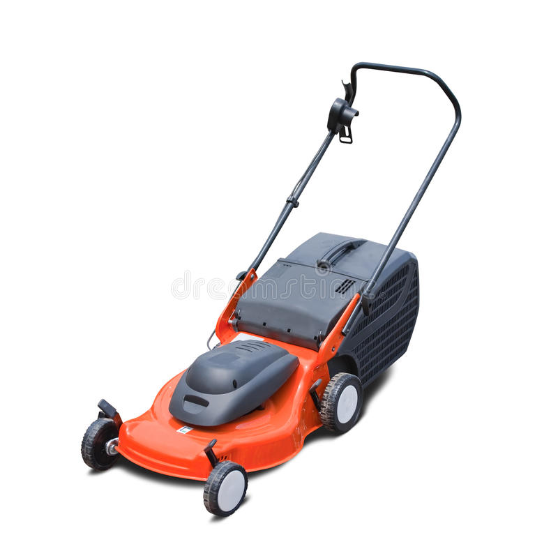 Lawn mower. Orange lawn mower. Isolated over white background stock images
