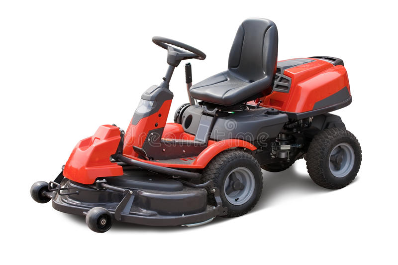 Lawn mower. Red lawn mower. Isolated over white background royalty free stock photo