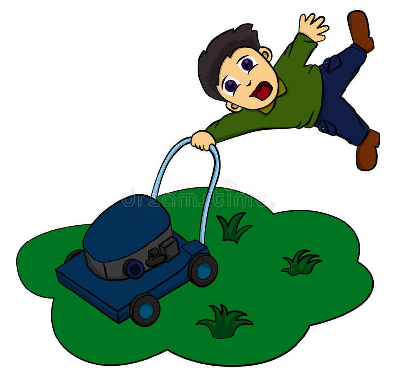 Lawn mower. A funny illustration of a man being dragged by a lawn mower stock illustration