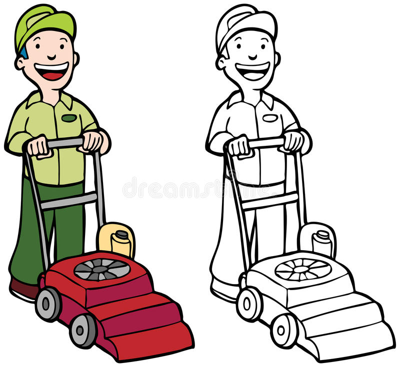 Lawn Mower. Cartoon image of man mowing lawn - color and black/white versions stock illustration