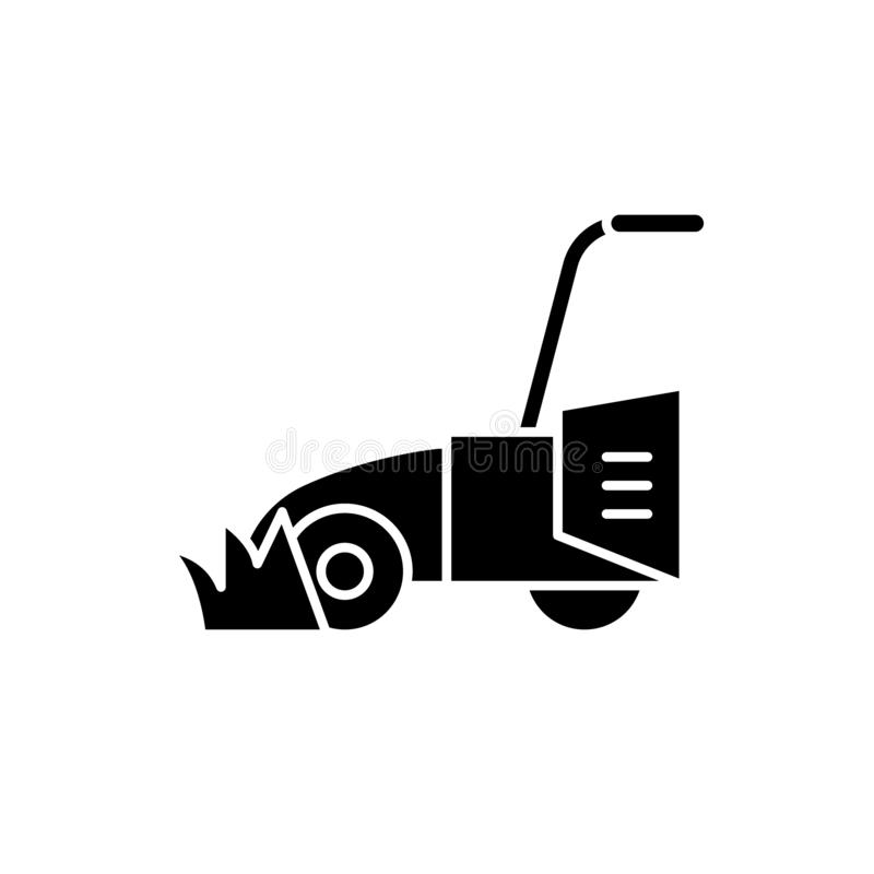 Lawn mower black icon, vector sign on isolated background. Lawn mower concept symbol, illustration. Lawn mower black icon, concept vector sign on isolated royalty free illustration