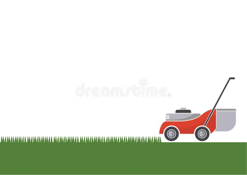 Lawn mower cutting grass with isolated background. Vector illustration stock illustration
