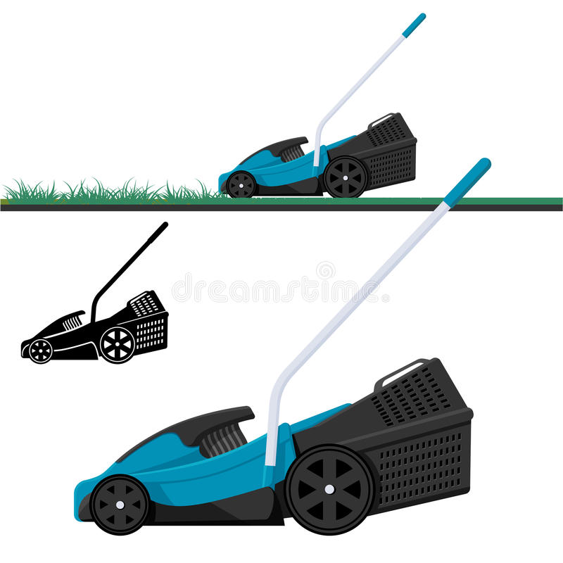 Lawn mower cutting grass isolated vector illustration royalty free illustration