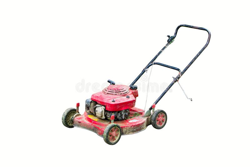 Lawn mower cutting royalty free stock photo