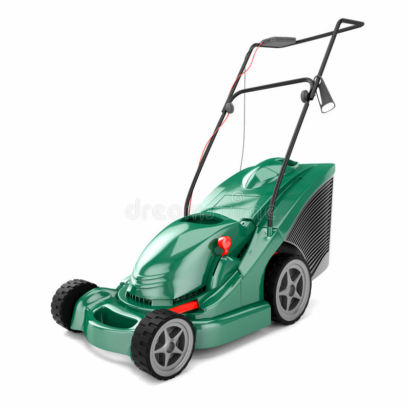 Lawn mower 3d. Lawn mower isolated on a white background 3d stock illustration