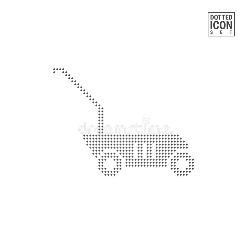 Lawn Mower Dot Pattern Icon. Grass Cutter Dotted Icon Isolated on White. Vector Background or Design Template. Lawn Mower Dot Pattern Icon. Grass Cutter Dotted royalty free illustration