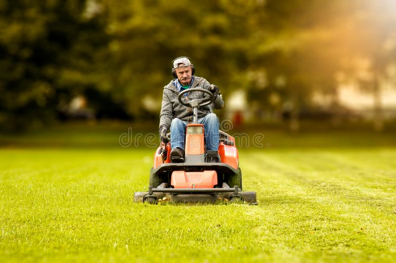The lawn mower stock images