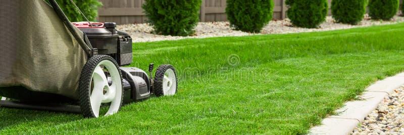 Lawn mower. Garden lawn mower cutting grass royalty free stock image