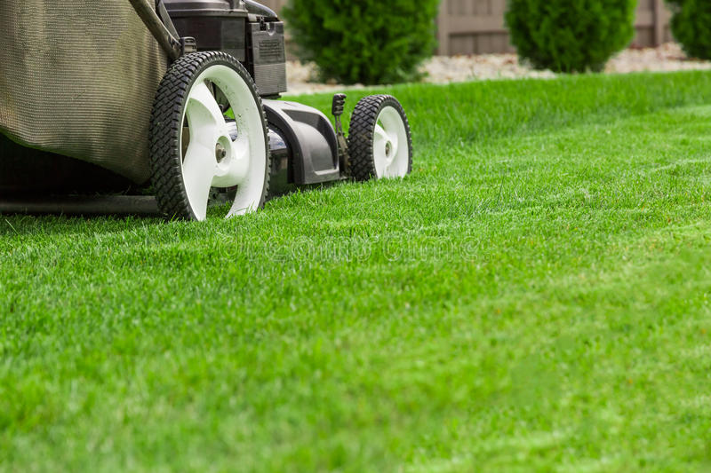 Lawn mower. Garden lawn mower cutting grass royalty free stock photography