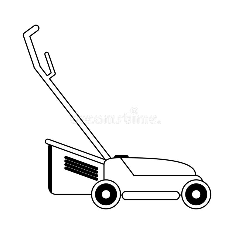 Lawn mower gardening device black and white. Lawn mower gardening device Designe royalty free illustration