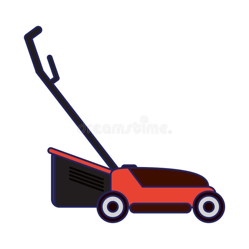 Lawn mower gardening device blue lines. Lawn mower gardening device icon ilustration vector stock illustration