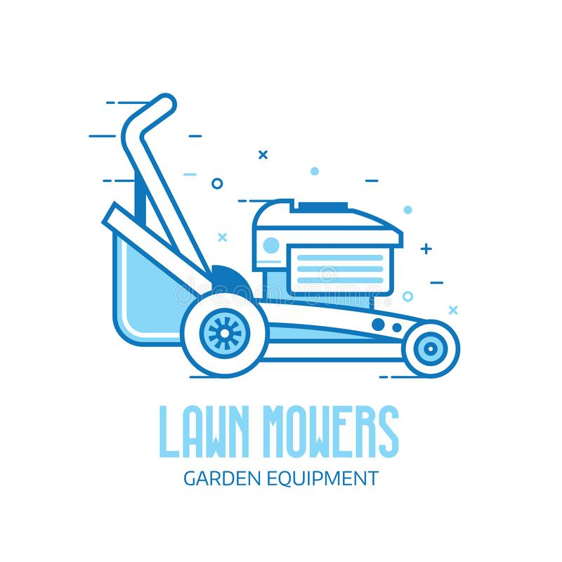 Lawn Mower Grass Cutter Logo. Rotary lawn mower engine logo or emblem template. Grass cutter outline icon. Gardening machine logotype in line art stock illustration