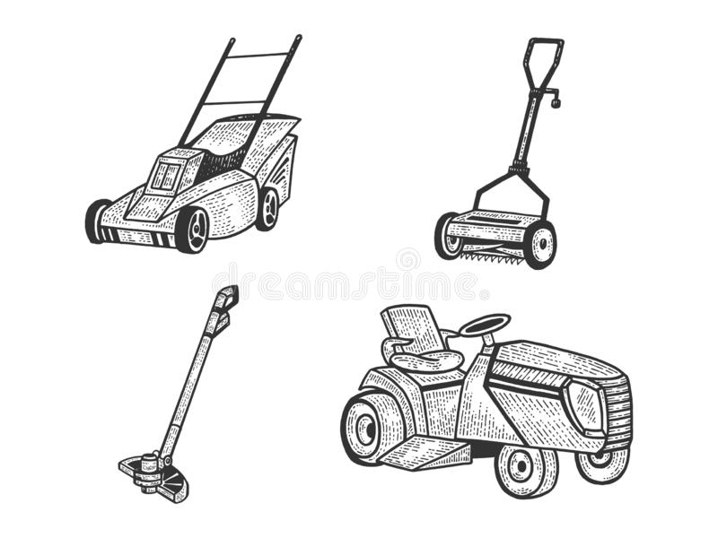 Lawn mower grass cutter set sketch vector. Lawn mower grass cutter set sketch engraving vector illustration. Scratch board style imitation. Black and white hand stock illustration