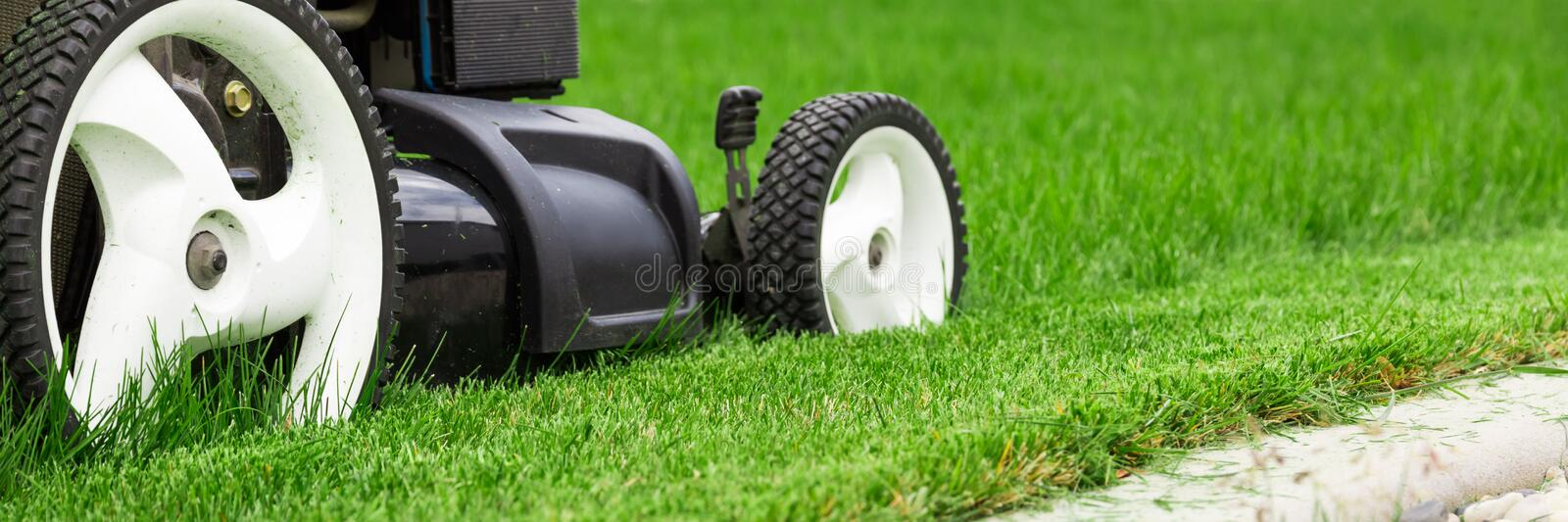Lawn mower. On green lawn royalty free stock photos