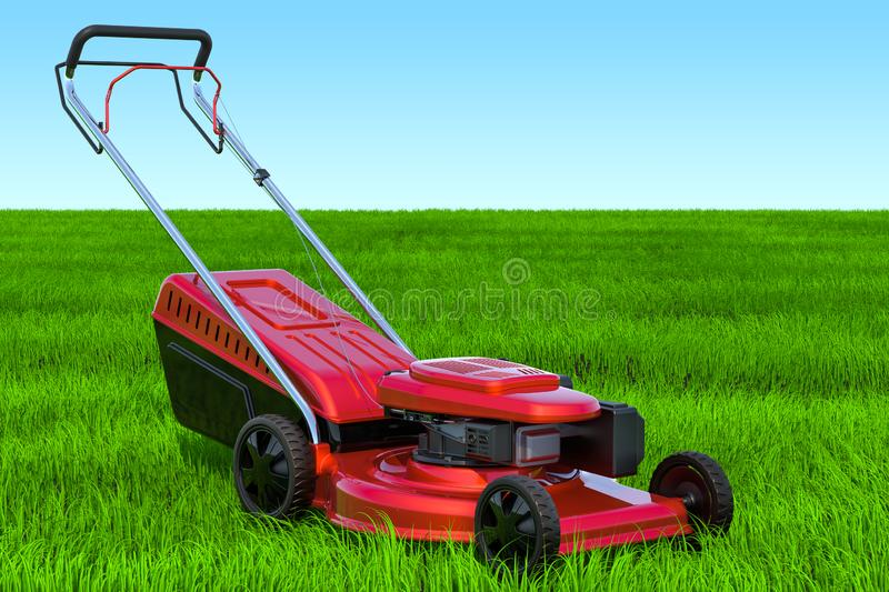 Lawn mower in the green grass against blue sky, 3D rendering vector illustration
