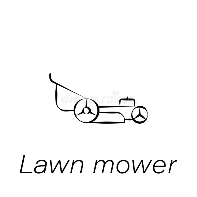 Lawn mower hand draw icon. Element of farming illustration icons. Signs and symbols can be used for web, logo, mobile app, UI, UX vector illustration