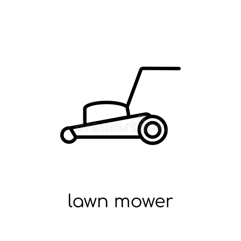 Lawn mower icon from Agriculture, Farming and Gardening collecti. Lawn mower icon. Trendy modern flat linear vector lawn mower icon on white background from thin stock illustration