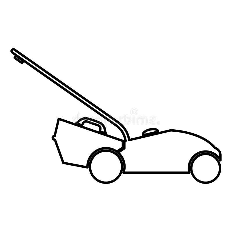 Lawn mower icon black color illustration flat style simple image. Lawn mower icon black color vector illustration flat style simple image stock illustration