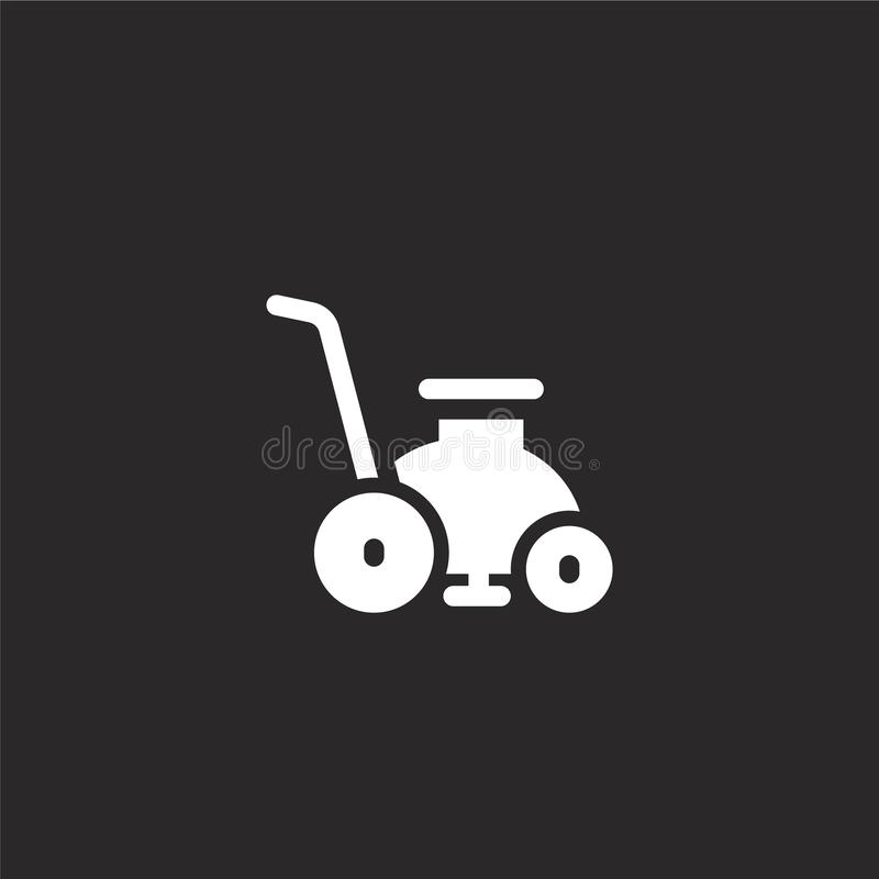 Lawn mower icon. Filled lawn mower icon for website design and mobile, app development. lawn mower icon from filled cleaning. Collection isolated on black stock illustration