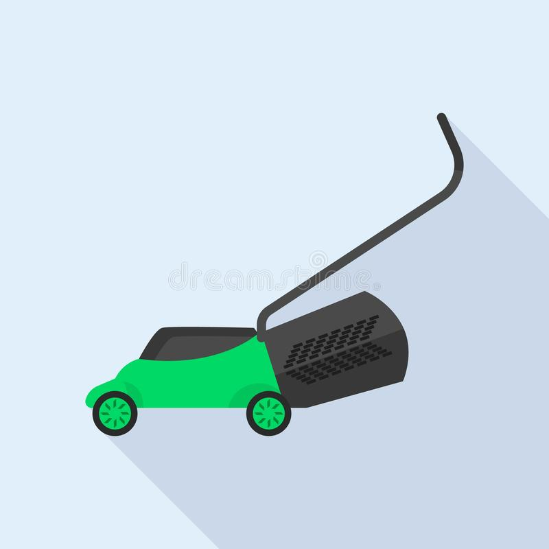 Lawn mower icon, flat style royalty free illustration