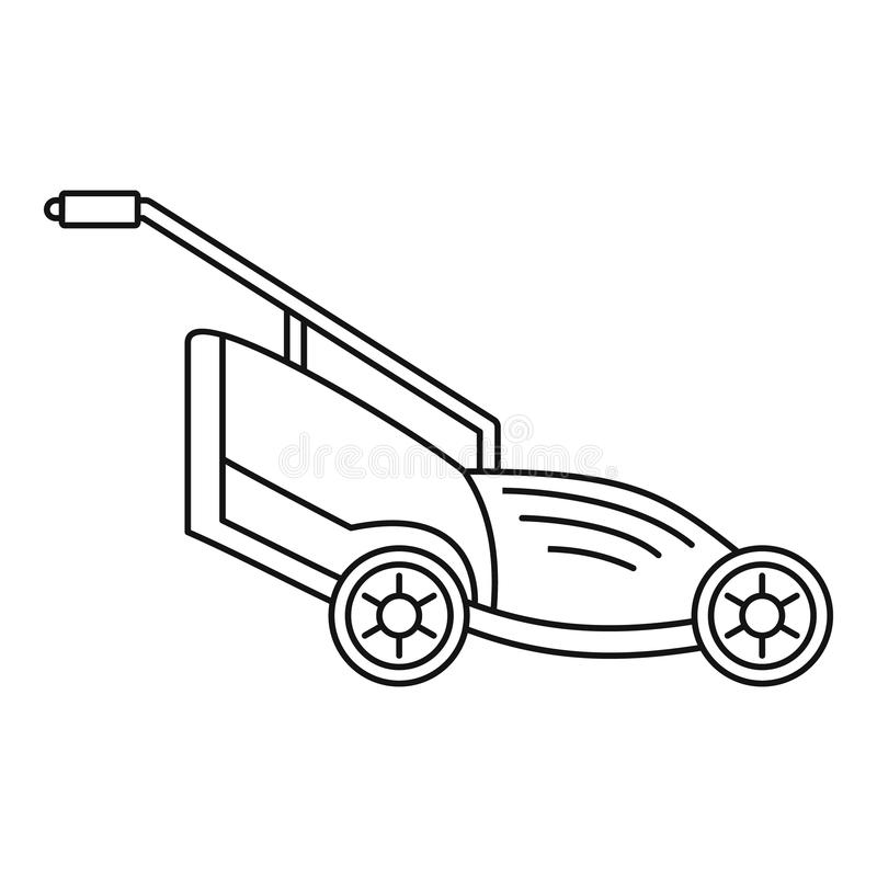 Lawn mower icon, outline style. Lawn mower icon. Outline illustration of lawn mower icon for web design isolated on white background vector illustration
