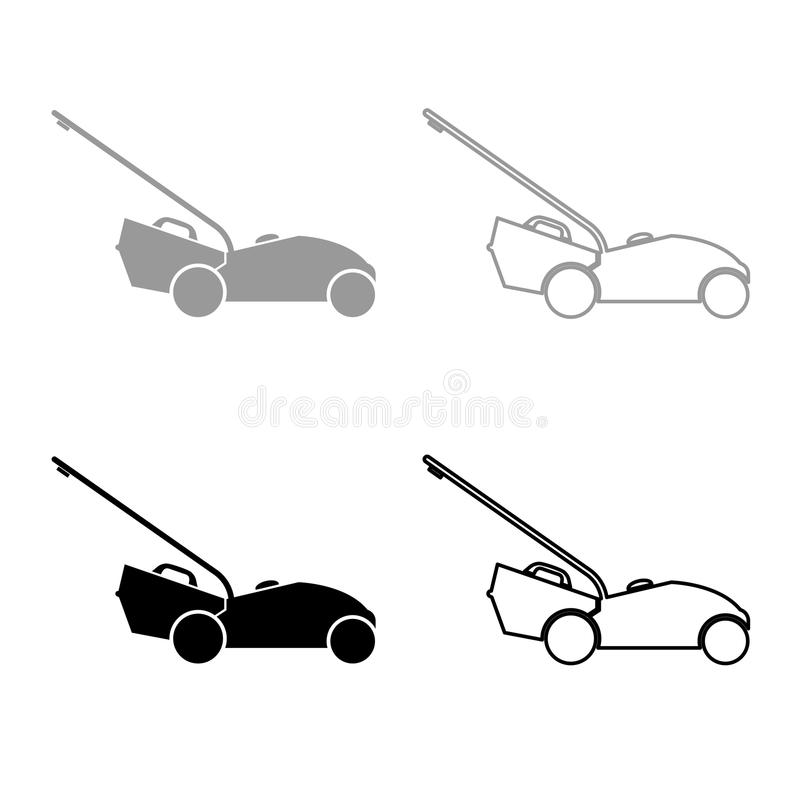 Lawn mower icon outline set grey black color. Lawn mower icon set grey black color illustration flat style simple image stock illustration