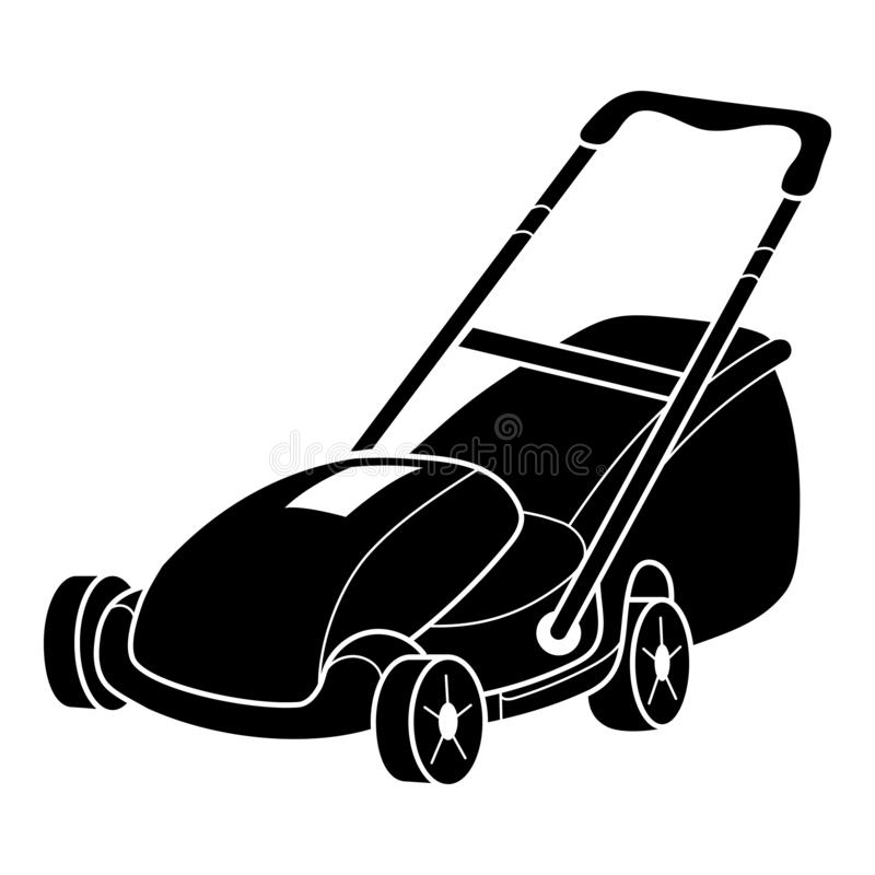 Lawn mower icon, simple style. Lawn mower icon. Simple illustration of lawn mower vector icon for web design isolated on white background stock illustration