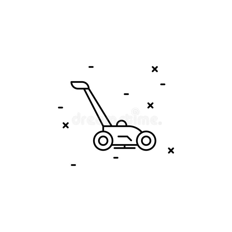 Lawn mower icon. Simple thin line, outline vector of Agriculture icons for UI and UX, website or mobile application. On white background vector illustration